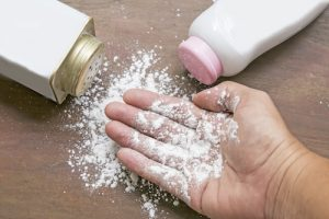 White talcum powder hand